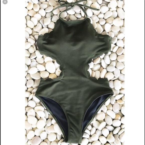 defbefe6e2 Cupshe Swim | Green Scalloped One Piece Xl | Poshmark